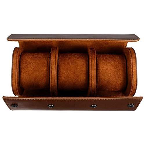 Caja para relojes 3 Slots Watch Back Caja de almacenamiento PU Cuero Reloj Roll Travel Funda de viaje Estuche para hombres y mujeres para almacenamiento en el hogar, viajes, exhibición Guarda Relojes/