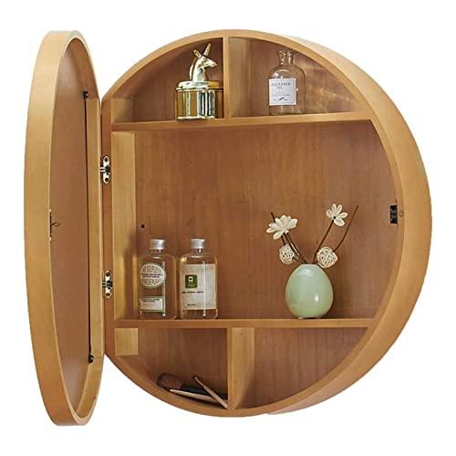 SAKLHDOQ Moderno armario de espejo de baño con luz LED con interruptor táctil, antiempañamiento, gabinete de almacenamiento de madera, tamaño redondo, 50/60/70 cm (color primario, tamaño: 70 cm)