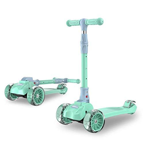 SJYDQ Niños kick scooter w / 3 Cubierta de ruedas, manillar Puños, Sit-o-plataforma del asiento plegable desmontable, el resto del pie, freno incorporado & Bonus cesta de 2-8 años de edad los muchacho