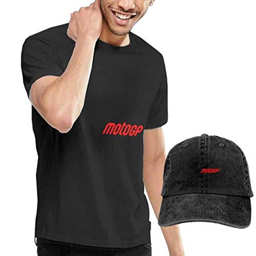 Baostic Camicie e T-Shirt Sportive Top e Bluse, Moto GP T-Shirts And Beach Hat, Black Fashion Sport Casual T-Shirt + Cowboy Hat Set for Men