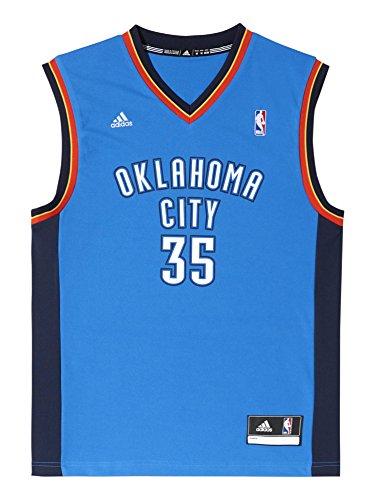 adidas Oklahoma City Thunder Kevin Durant NBA Replica - Camiseta din mangas de baloncesto, color azul / naranja / blanco, talla S