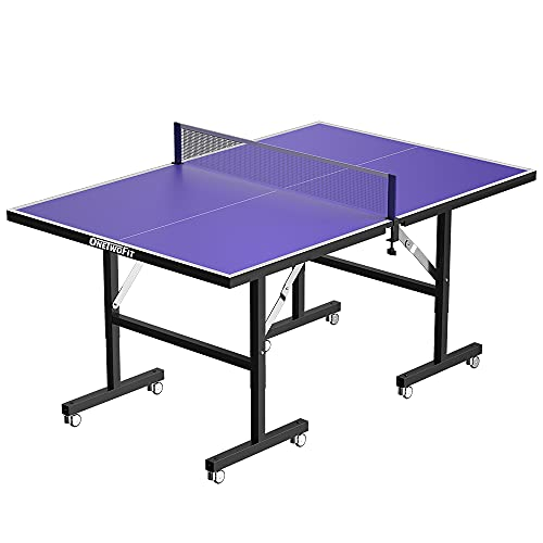 ONETWOFIT Table Tennis Tables Midsize Foldable Ping Pong Table Tennis Game Set Indoor & Outdoor Portable Table Tennis Game with Net, Includes 2 Table Tennis Paddles Assembly-Free & Easy to Storage
