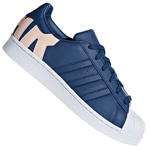 adidas Originals Superstar - Zapatillas deportivas para mujer, diseño con texto 'Super & Star', color azul marino, color Azul, talla 36 EU