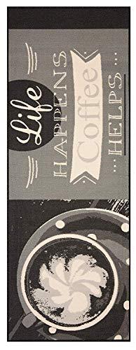 Bavaria Home Style Collection Küchenläufer Läufer Teppich Grau Tasse Coffee Life Größe 67x180 cm - modern - Motiv Kaffee - Teppiche - Kitchen Deko - Flur - Esszimmer