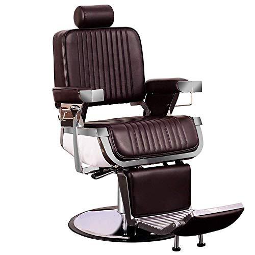 BarberPub All Purpose Heavy Duty Vintage Hydraulic Recline Barber Chair Salon Beauty Spa Styling Equipment 2009 (Brown)