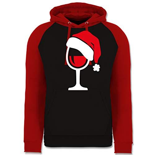 Weihnachten & Silvester - Weinglas mit Weihnachtsmütze - L - Schwarz/Rot - Geschenk - JH009 - Baseball Hoodie