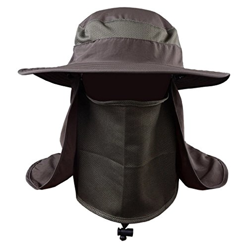 Evedaily Unisex Chapeau Soleil Grand bord en Protection UV Solaire pour Fisherman avec cordonnet pour Camping Voyage Sport