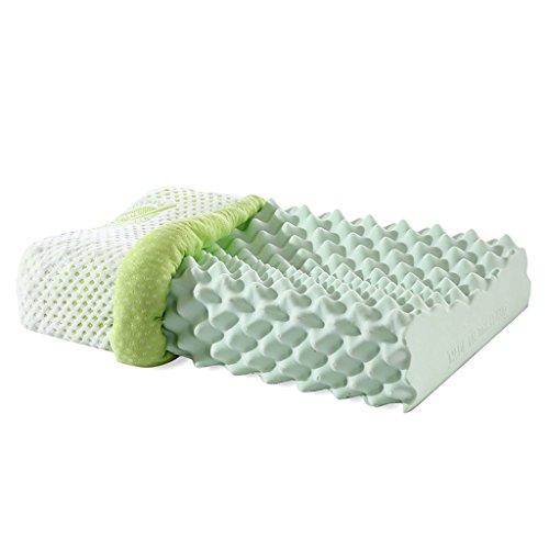 Almohadas para cuello Almohada de látex Almohada para Adultos Almohada iónica Negativa Almohada para Masaje Cervical Cómoda y Transpirable (Color : Green, Size : 62 * 35 * 10cm)