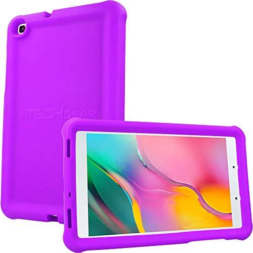 TECHGEAR Funda Diseñado para Nuevo Samsung Galaxy Tab A 8.0' 2019 (SM-T290/SM-T295) Resistente Antideslizante a Prueba de Golpes de Silicona Suave Funda Niños + Protector de Pantalla [Púrpura]