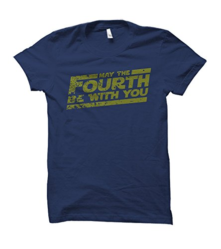 Party Explosions May The Fourth Be with You Adult T-Shirt (Heather Navy, Medium)