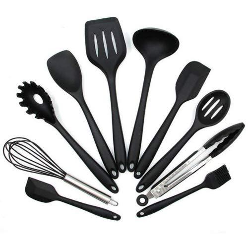 Utensilios Cocina de Silicona - 10+1Piezas Menaje Cocina Utensilios - Utensilios de Cocina Antiadherente, Resistentes al Calor y Duradero