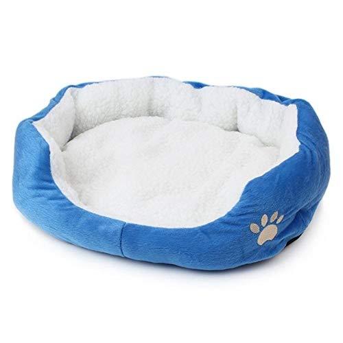 PENVEAT S/L Größe Haustier Hund Wärmebett Hundehütte weiches Material Nest Hundekörbe Herbst und Winter warme Hundehütte für Katzenwelpen, blau, L, Frankreich