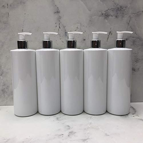 500ml Dispenser Pump Bottle White PET Plastic Bottle Silver/White Lotion Pump Mrs Hinch Customisable DIY Refillable Bathroom Hand Lotion Soap Bottle (5)