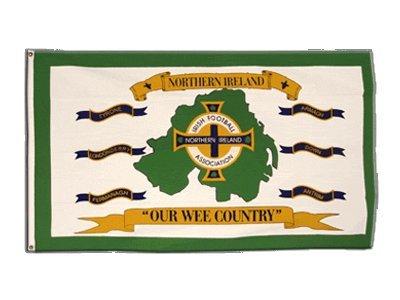Flaggenfritze Fahne/Flagge Nordirland Football Association weiß + gratis Sticker