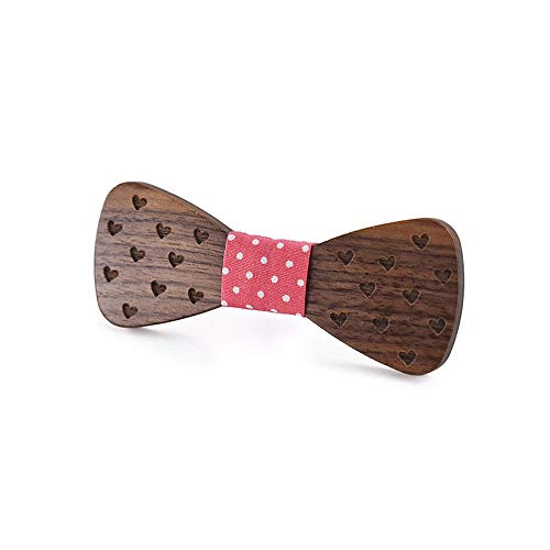 Uteruik Pajarita de madera para niños, diseño de corazón, para chicos