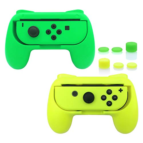 FASTSNAIL Grips Compatible with Nintendo Switch for Joy Con & OLED Model for Joycon, Wear-Resistant Handle Kit Compatible with Joy Cons Controllers, 2 Pack(Green and Yellow)