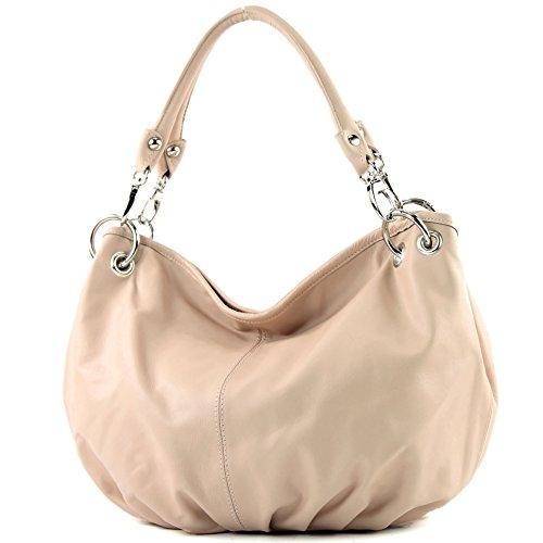 modamoda de - IT40 - ital. Damentasche aus Nappaleder/Leder, Farbe:Rosabeige hell