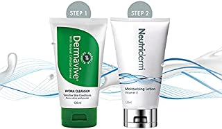 Neutriderm Pre-makeup Skincare Combo, Vitamin E Moisturiser 125 ml and Dermavive Hydra Cleanser 120 ml