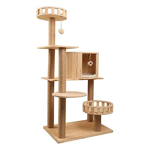 YUMO Massivholz Katzenkletterbaum Sisal-Katzengerüst Katzenstreu-Spielzeug aus Holz Kratzbaum Kratzbaum Schleifplattenbedarf