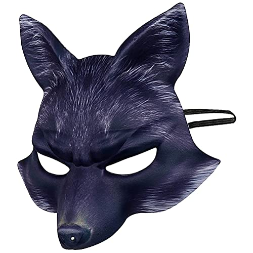YAQIAN Máscara de media cara de zorro de Halloween, máscara de animales de EVA, máscara de zorro de cosplay, disfraz de mascarada, accesorio de fiesta de carnaval para niños y adultos