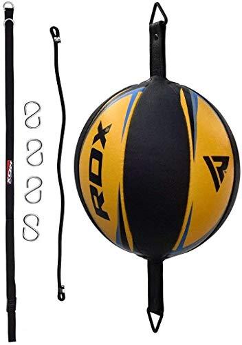 RDX Cuir De Vachette Double End Bag Corde Attache Poire de Vitesse Boxe Frappe Entrainement MMA Speed Ball Muay Thai - Jaune