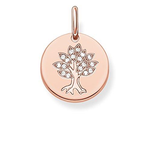Thomas Sabo Damen-Anhänger Love Bridge Lebensbaum 925 Sterling Silber 750 rosegold vergoldet Zirkonia weiß 1.4 cm LBPE0008-416-14