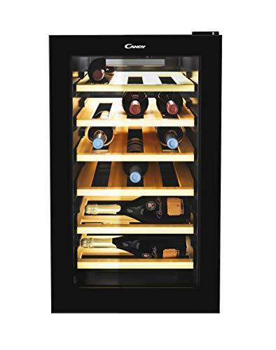 Candy CWC 021ELSPK Freestanding Wine Cooler, Single Zone Temperature, 21 Bottle Storage, 40cm wide, Black, Wood Shelves
