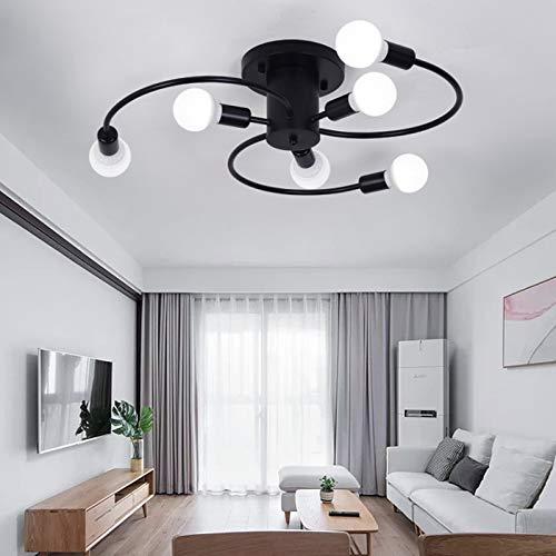 Lqdpdd Moderne Semi Flush Mount Deckenleuchte, Schwarzer Schmiedeeiserner Kronleuchter Leuchte Für Schlafzimmer, Esszimmer, 6 Lichter