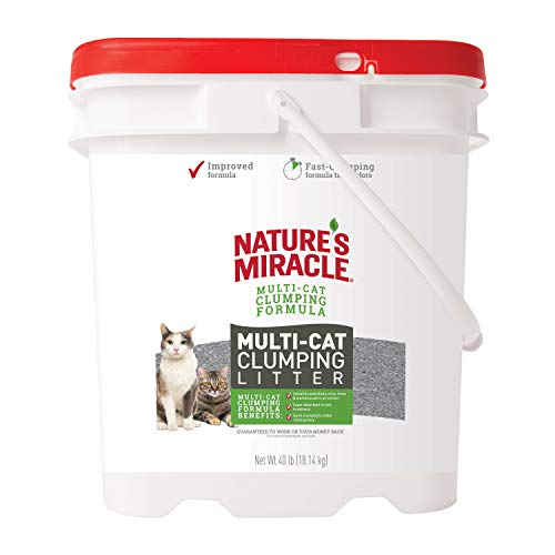 Nature's Miracle Multi-Cat Clumping Clay Litter, 40 pounds, Pail, Fresh Linen Fragrance, Super Absorbent Fast-Clumping Formula