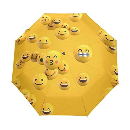 Emoji Emotion Muster Kompakt Reise Regenschirm Anti-UV Schutz Wasserdicht Regenschirm 3 Faltbar Automatisch Öffnen