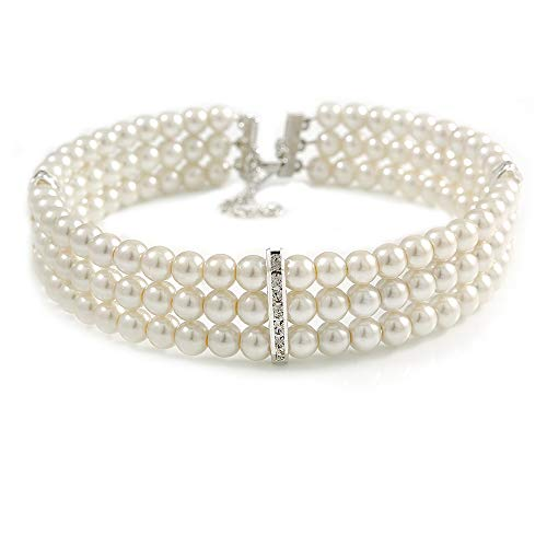 Avalaya 3 Row White Faux Glass Pearl Rigid Choker Necklace with Crystal Bar Detailing in Silver Tone - 36cm L/ 5cm Ext
