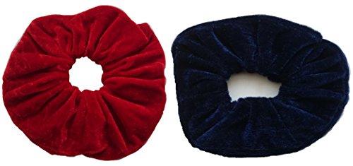 Aadya-élastiques à cheveux velours XL (15 cm) existe en couleurs 26 RED AND NAVY BLUE