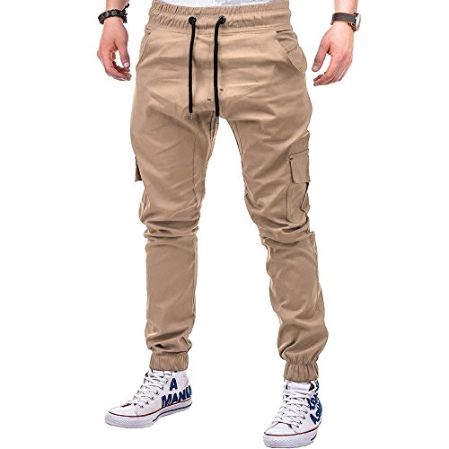 Yowablo Jogginghose Fashion Herren Sport Pure Color Bandage Beiläufige Lose Drawstring Pant (XXL,2Khaki)