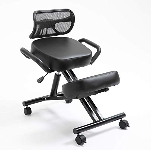 Beautiful Ergonomic Kneeling Chair with Thick Leather Cushions, Pneumatic Height Adjustment, Back Support, Side Handles, Back Pain Relief, Work from Home & Office, Black Stork [Updated Mid 2021]