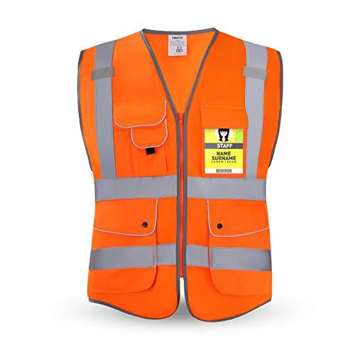 HPHST Warnweste für Herren and Damen Hohe Sichtbarkeit Fahrradweste mit Reißverschluss Reflektierende Weste Arbeitsweste EN ISO 20471 (Orange Medium)