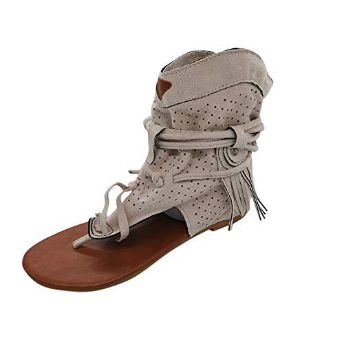 Nihewoo Sandals for Women Dressy Summer Retro Gladiator Sandals Flat Bottom Tassel Hollow Toe Women s Sandals Shoes Womens Sandals White