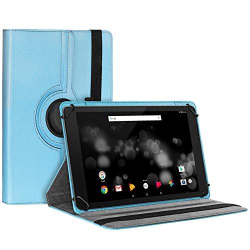 eFabrik Schutzhülle für TrekStor Primetab P10 Tasche Cover Hülle Schutztasche Universal Etui 360 Grad Rotation Drehung Aufstellfunktion Leder-Optik, Farbe:Blau