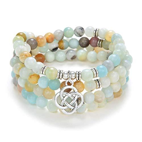 oasymala 108 Mala Meditation Beads Yoga Bracelet or Necklace with Celtic Knot Charm (Amazonite)