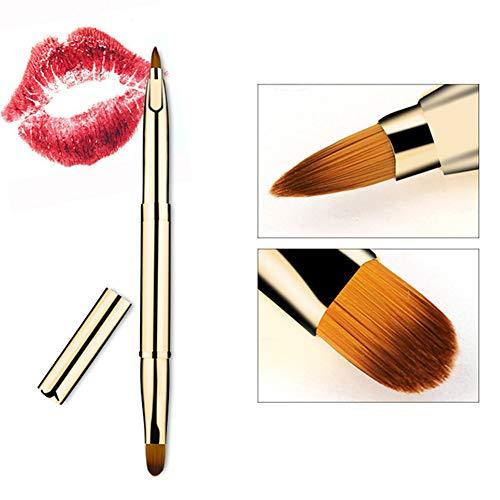 1PCS Pinceaux pour Les Lèvres, Outils de Maquillage à Tête Double Rétractable Portatif Golden