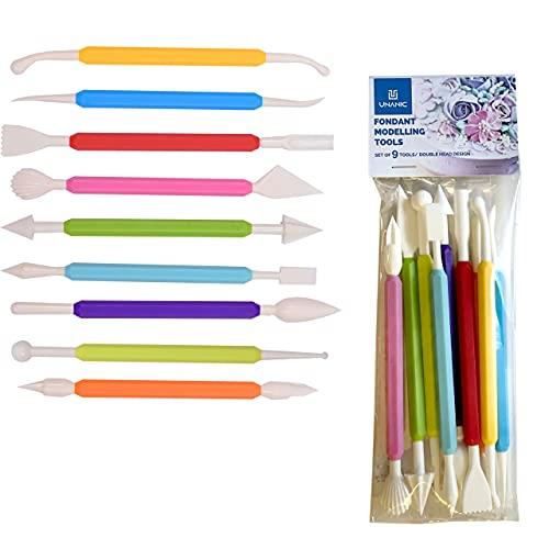 UNANIC 9-teiliges Fondant-Modellierwerkzeug - Doppelseitige Dekorier-Stifte, insgesamt 18 Formen - BPA-freies Backzubehör, Tools für Fondant, Glasur, Marzipan, Gumpaste, Zucker, Ton, DIY-Projekte