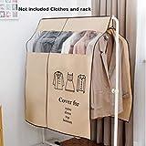 QLING - Funda antipolvo para ropa, 90 x 110 cm, no tejida, para ropa, perchas, ropa o vestidos, organizador de almacenamiento, beige, Tamaño...