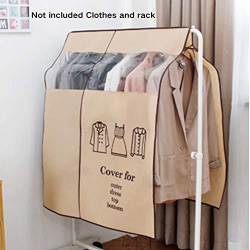 QLING - Funda antipolvo para ropa, 90 x 110 cm, no tejida, para ropa, perchas, ropa o vestidos, organizador de almacenamiento, beige, Tamaño libre