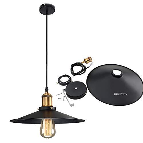 Moderna Lampara De Techo Vintage Lámpara Colgante Rústica E27 Base Longitud Ajustable Retro Industriales Plafón Para Lamparas Comedor Salon Cocina(ø28cm,Negro)