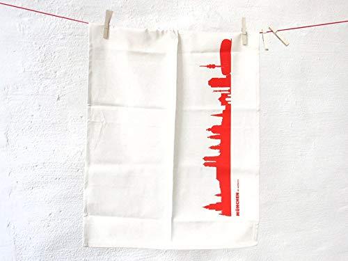 44spaces München Skyline Küchentücher Stadt Design rot, 50x70 cm Reine Baumwolle (Bio), Geschirrtücher für Münchner & Fans, Geschenkidee Geburtstag Grill-Saison Garten-Fest Mitbringsel