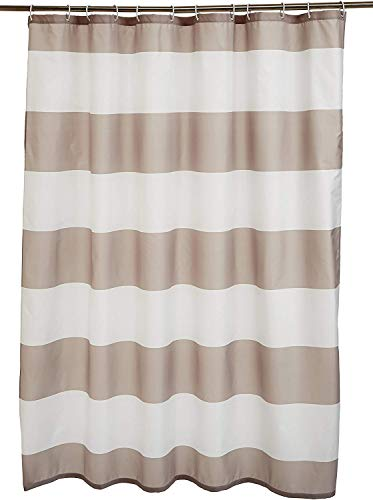 Amazon Basics - Cortina de ducha de tejido estampado (180 x 180 cm), diseño de rayas grises