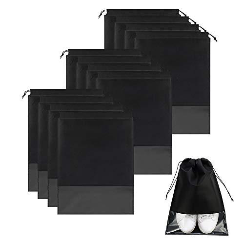 didatecar Kordelzugbeutel 12-teilige Reiseschuhtasche Große Schuh-Organizer-Tasche Vlies-Aufbewahrungstasche mit transparentem Fenster und Kordelzug(32 X 44CM schwarz)