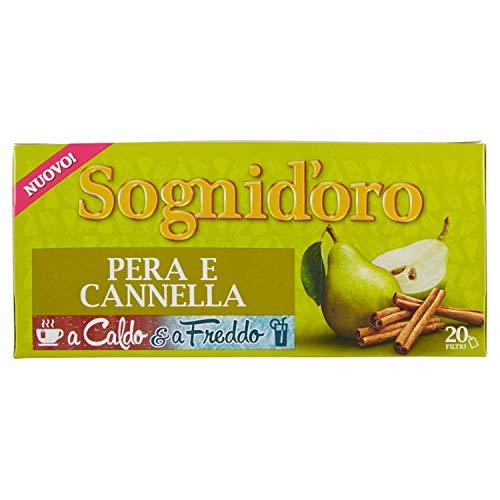 Sogni d'Oro Infuso Caldo e Freddo Pera e Cannella, 20 Filtri, 40 gr, ingredienti naturali, sapore morbido e leggermente speziato, da gustare in ogni occasione, estate e inverno.