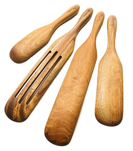 Elegant Grains by PDSM 4 Piece Acacia Wooden Spurtle Set - Must have wooden utensils for cooking, these beautiful acacia spurtles kitchen tools are the perfect wooden kitchen utensil set.