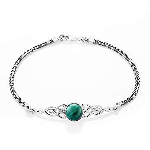 SUVANI Sterling Silver Green Malachite Celtic Trinity Knot Triquetra Triskelion Charm Bracelet 8''