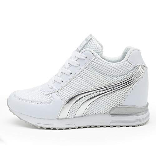 AONEGOLD® Zapatillas de Cuña para Mujer Zapatillas de Deporte Zapatillas Altas Primavera/Verano Tacón Cuña 7CM(Blanco,37 EU)